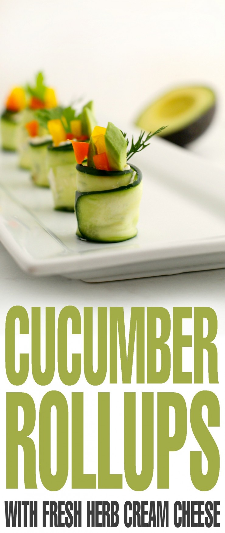 These Cucumber Rollups with Fresh Herb Cream Cheese make for a nice substitution to the typical veggie tray at bbq's and parties. It's also a great way to get the kiddos to eat more veggies since these little crunchy rolls are so fun to eat!