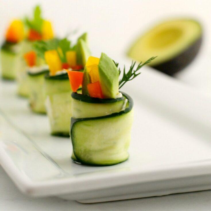 Cucumber Rollups with Fresh Herb Cream Cheese