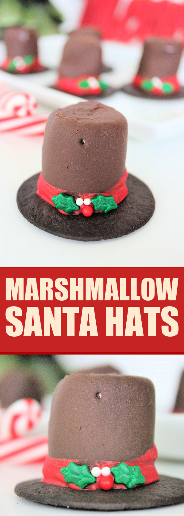 These Marshmallow Frosty Hats are a tasty, seasonal treat that can be eaten alone or serve as adorable cupcake toppers!