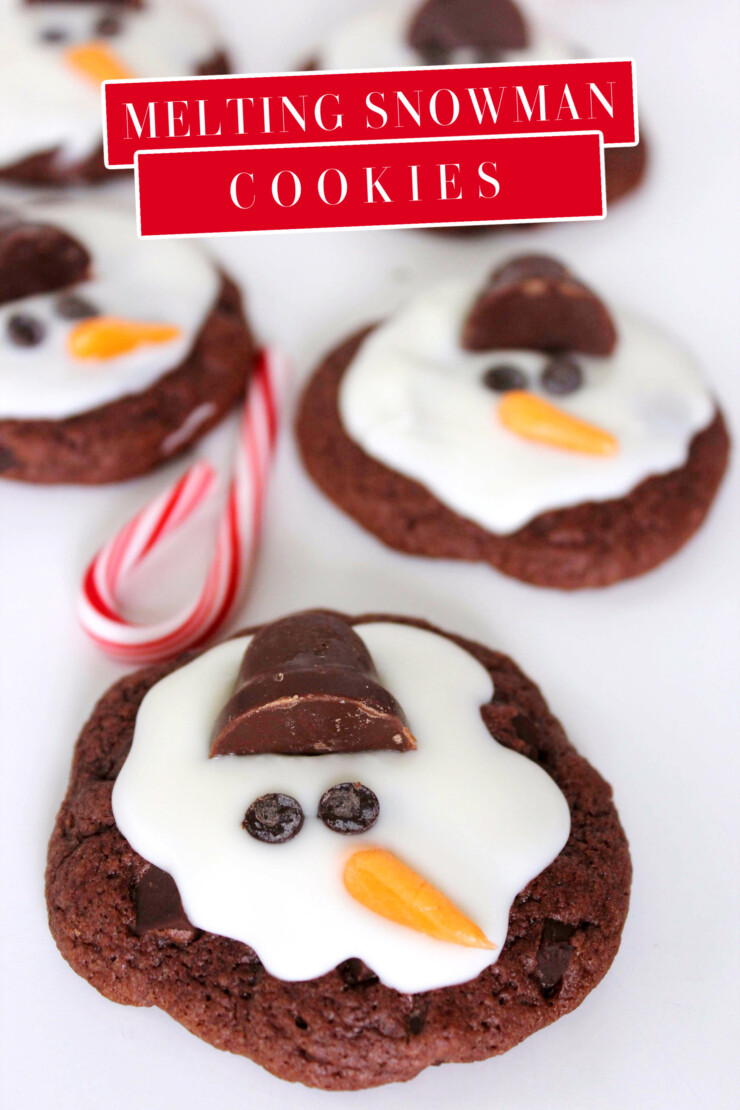 These Melting Snowman Cookies are a precious and tasty Christmas cookie that is perfect for holiday parties with kids!