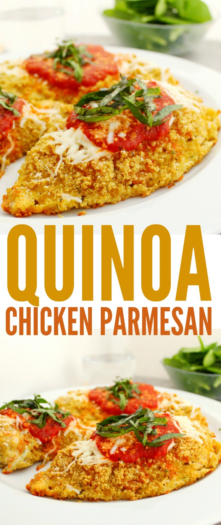 This Gluten Free Quinoa Chicken Parmesan has a surprisingly crisp coating your entire family will enjoy! This is a healthy twist on a classic recipe whether you eat gluten free or not.