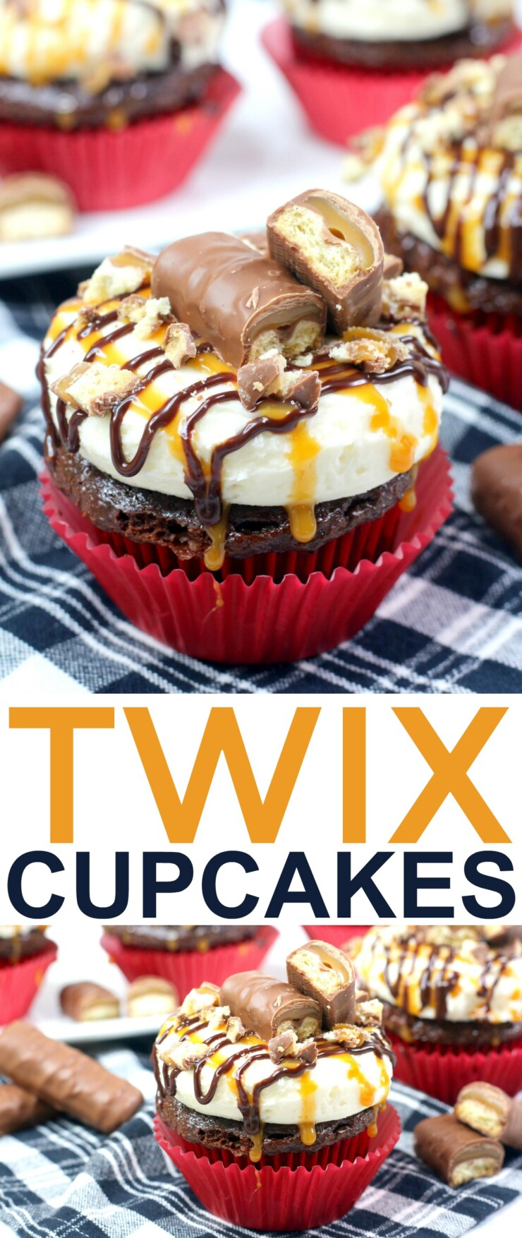 This decadent Twix cupcakes recipe features a from-scratch chocolate cupcake recipe topped with a luscious caramel buttercream.