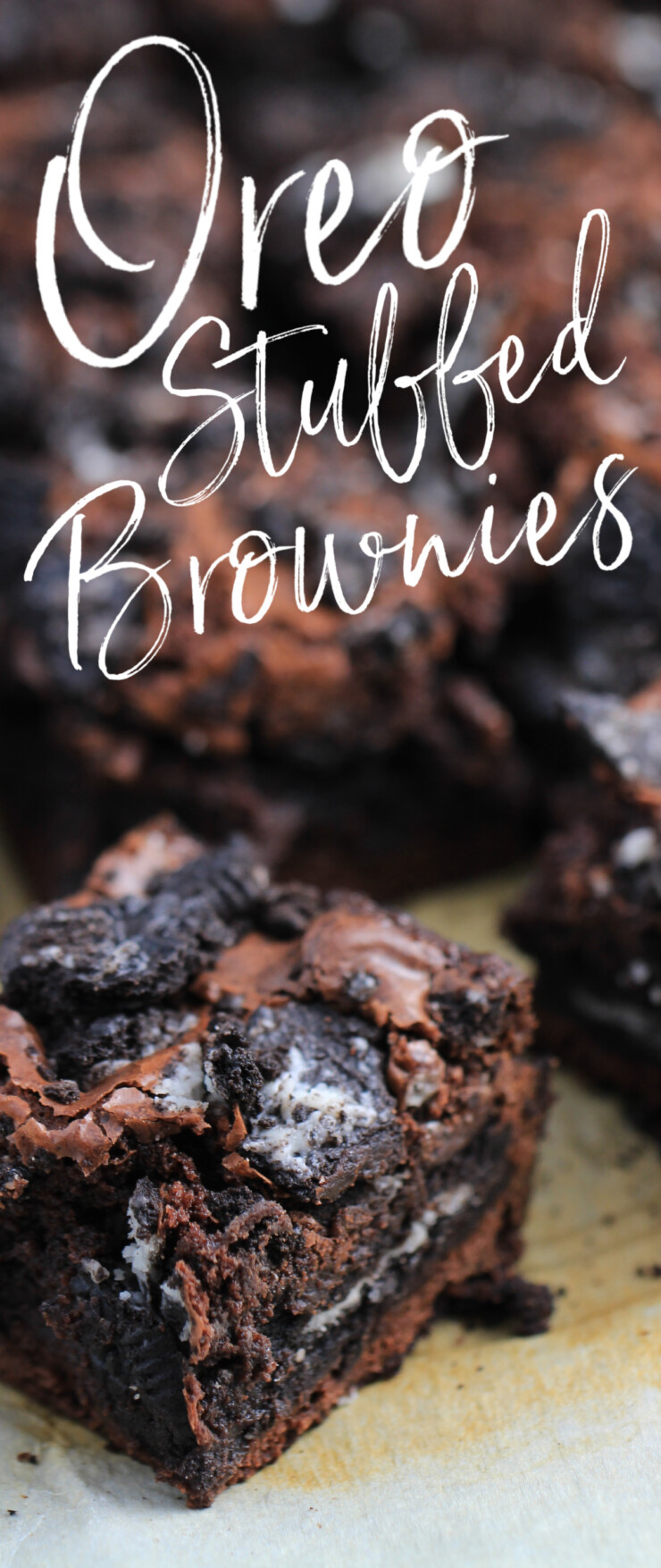 Delicious Oreo Stuffed Brownies – fudgy brownies layered with Oreos and topped with even more Oreos.  Brownies don't get much better than this!
