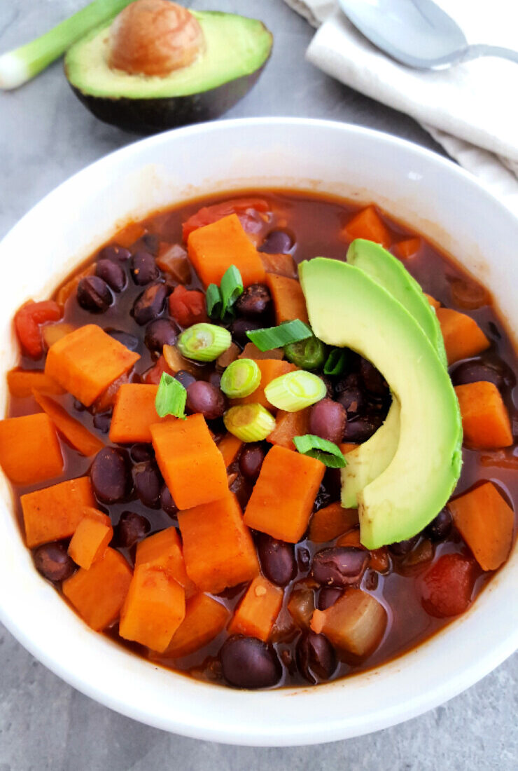 Vegan Black Bean Chili with Sweet Potato