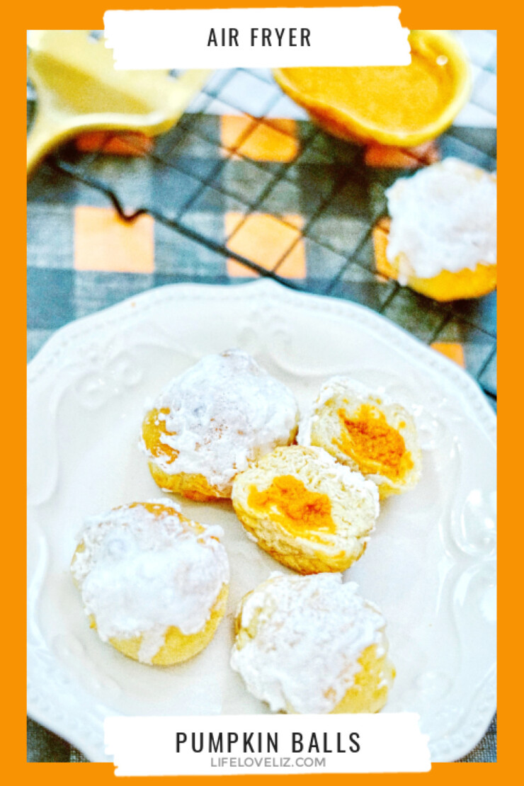 These Air Fryer Pumpkin Balls are a no-fuss autumn dessert made with flaky crescent dough, creamy pumpkin filling and smothered in sweet frosting.