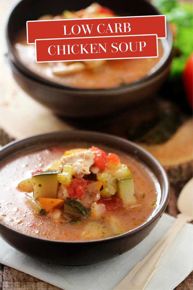 Enjoy this filling Low Carb Chicken Soup that is Keto friendly and delicious. It's a satisfying and perfect meal anytime of the year.