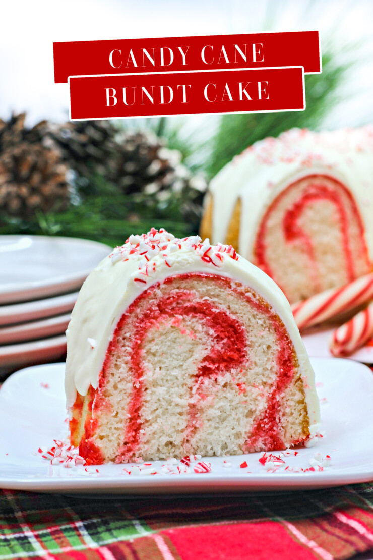 This Festive Candy Cane Bundt Cake features a light and sweet peppermint cake with swirls of red smothered in a candy cane cream cheese frosting.