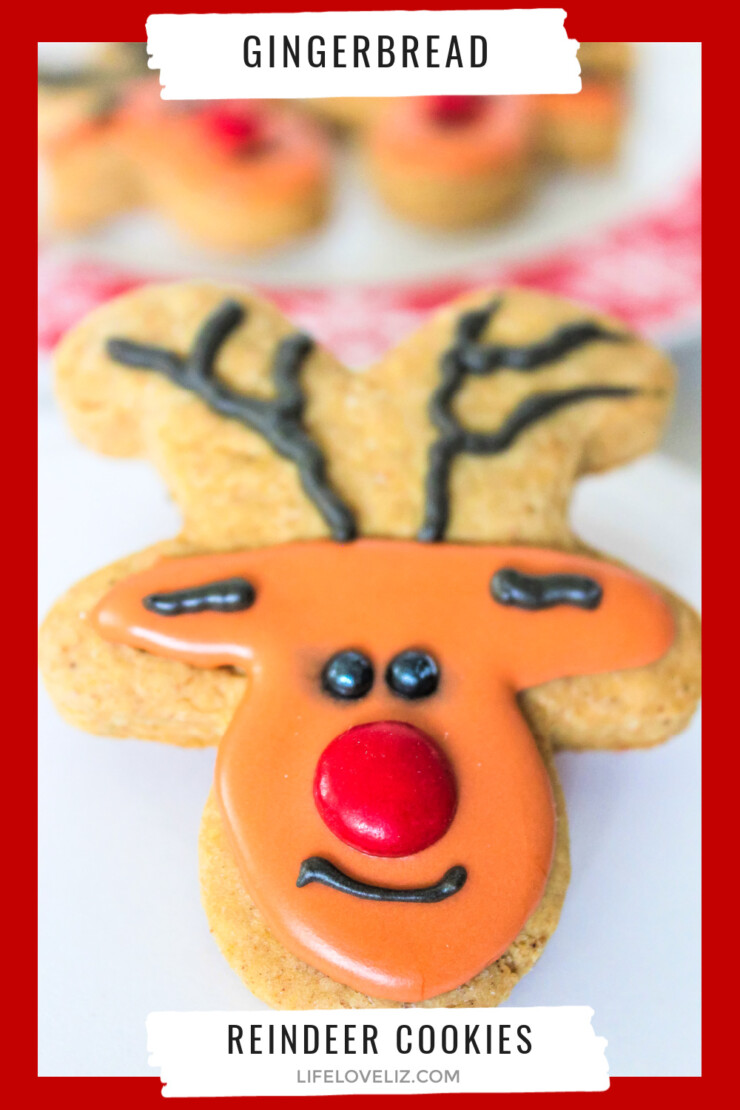 Make these easy and delicious Gingerbread Reindeer Cookies for your holiday dessert tables. Kids will love these adorable Christmas cookies.