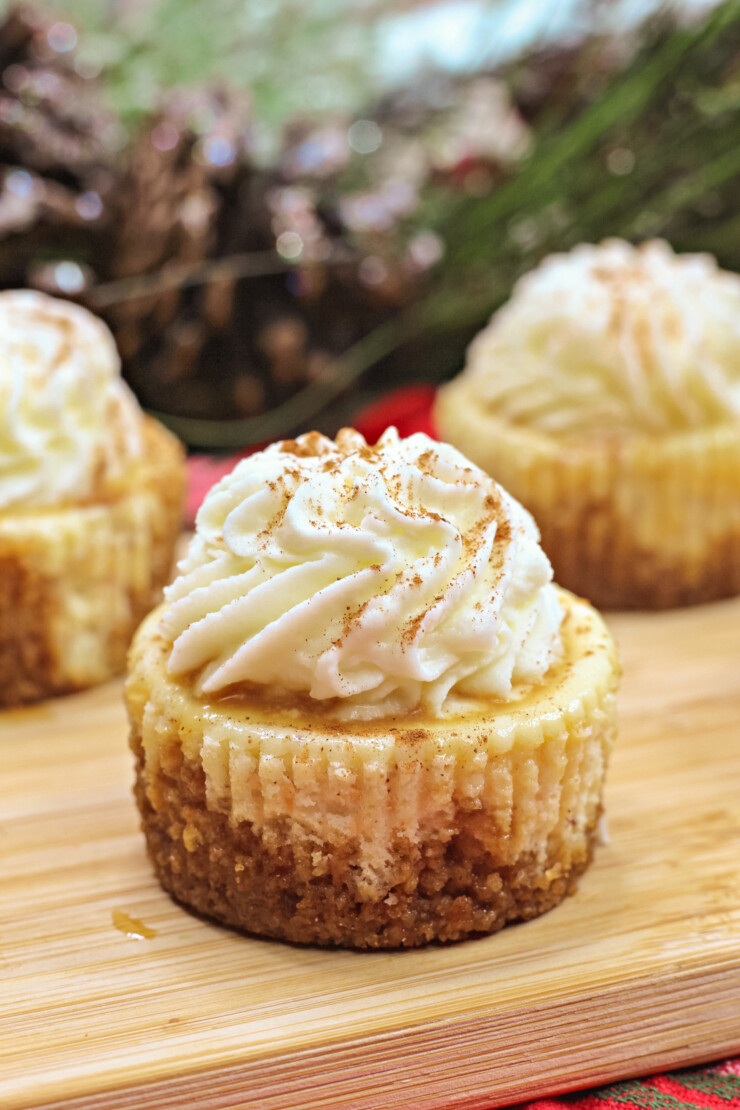 These easy mini Eggnog cheesecakes are festively flavoured for the holiday season and party ready with individual portions.
