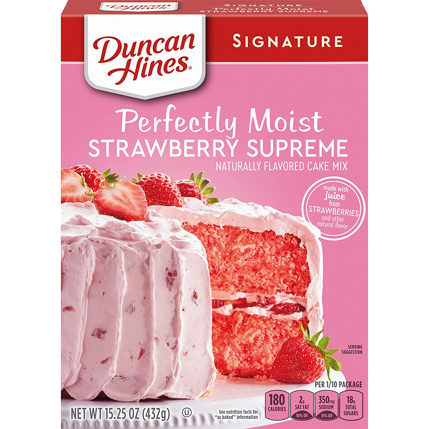 Duncan Hines Signature Perfectly Moist Strawberry Supreme Naturally Flavored Cake Mix