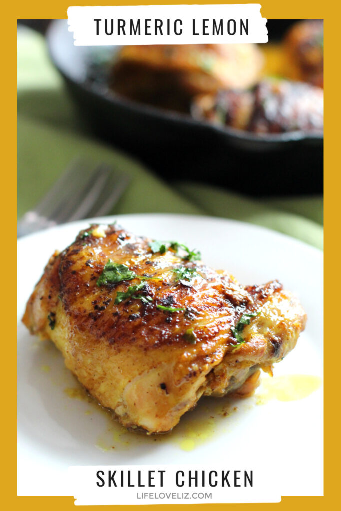 Turmeric Lemon Skillet Chicken is fried crisp then braised in a fragrant sauce. This tasty recipe has amazing anti-inflammatory benefits!