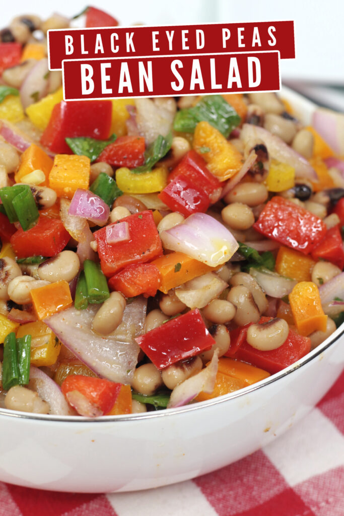 Quick and easy to make, serve this Black Eyed Peas Bean Salad as a side or enjoy it as a salsa with tortilla chips!