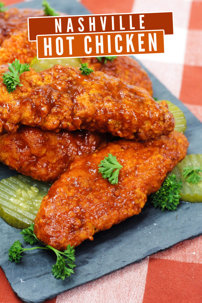 Air Fryer Nashville Hot Chicken is crispy chicken coated in a blend of spices, air-fried and served up with white bread and pickles.