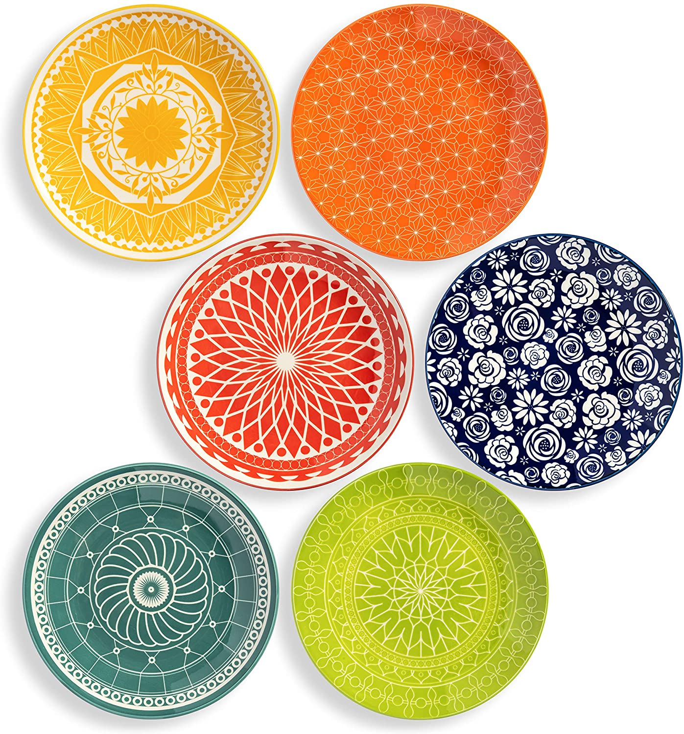 Annovero Salad/Luncheon Plates, Set of 6 Porcelain Plates
