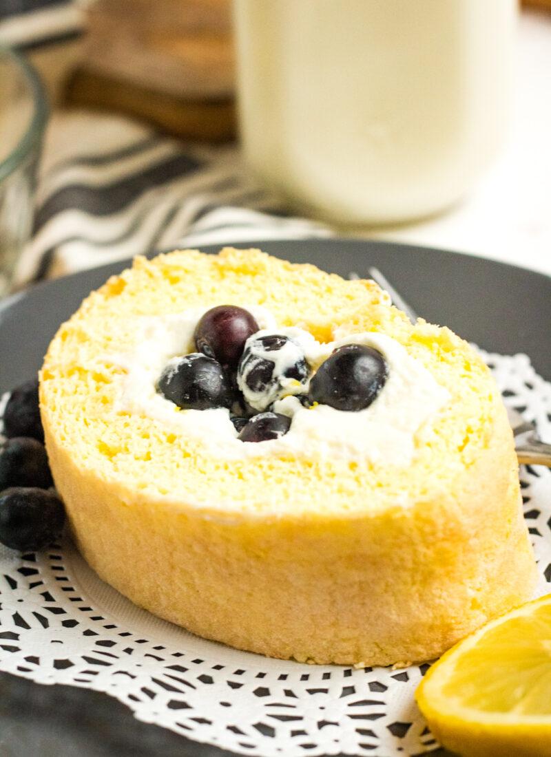 Blueberry Lemon Cake Roll Recipe (Swiss Roll)