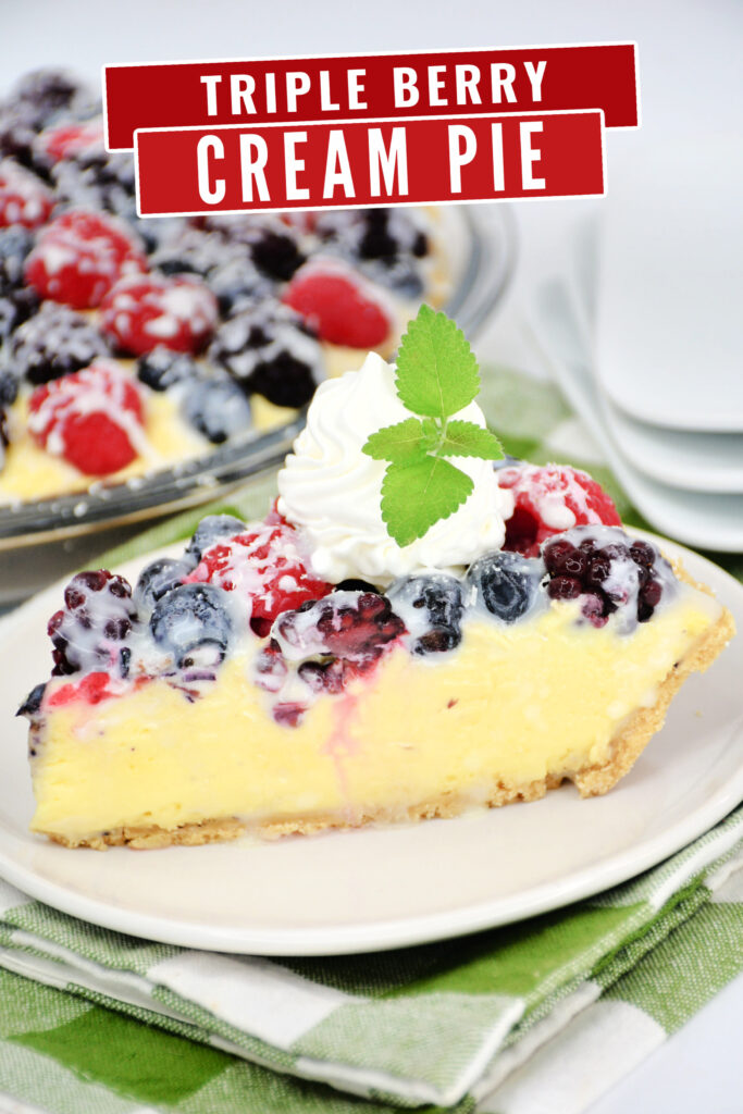 A luscious triple berry cream pie recipe featuring a creamy filling topped with Blackberries, Raspberries & Blueberries covered in chocolate.
