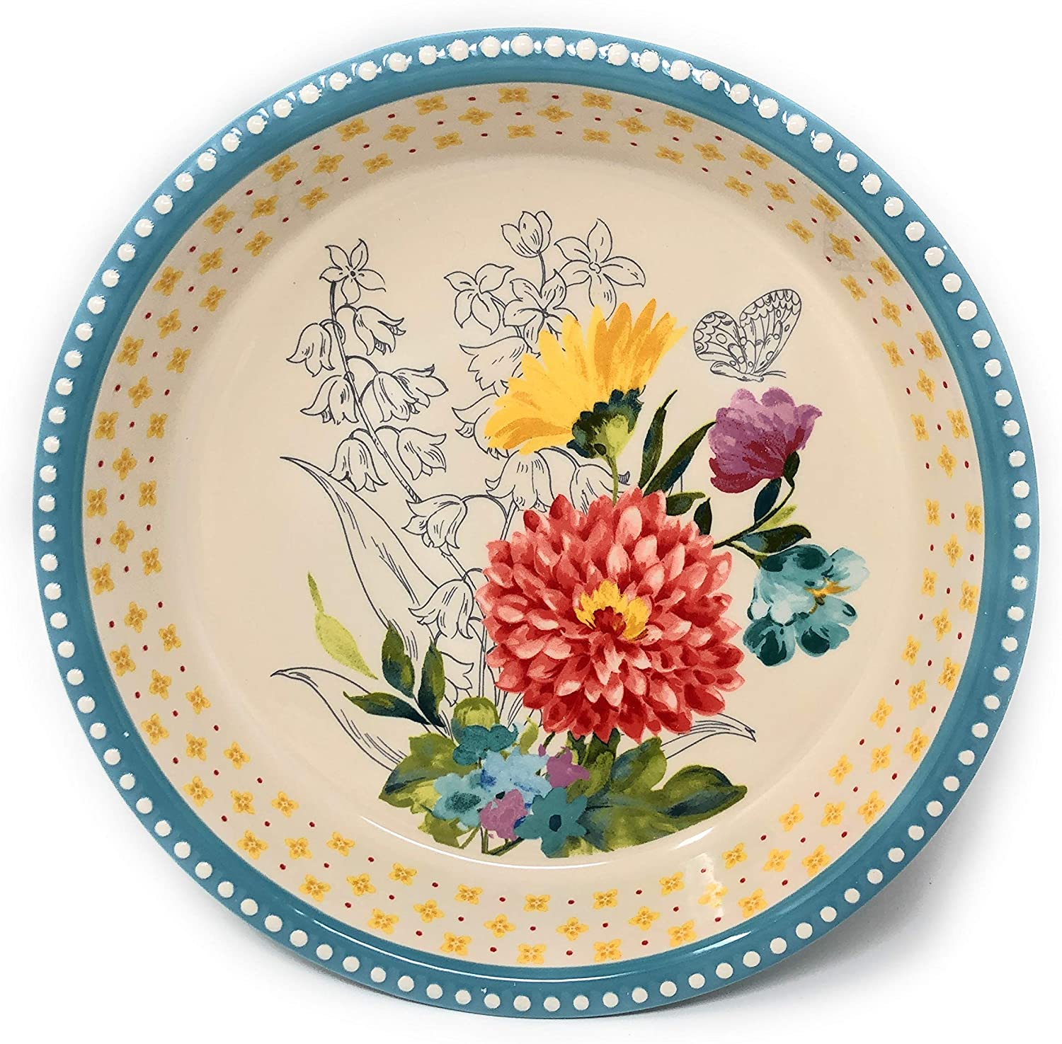 The Pioneer Woman Blooming Bouquet Pie Dish-Stoneware 9 Inch Pie Pan