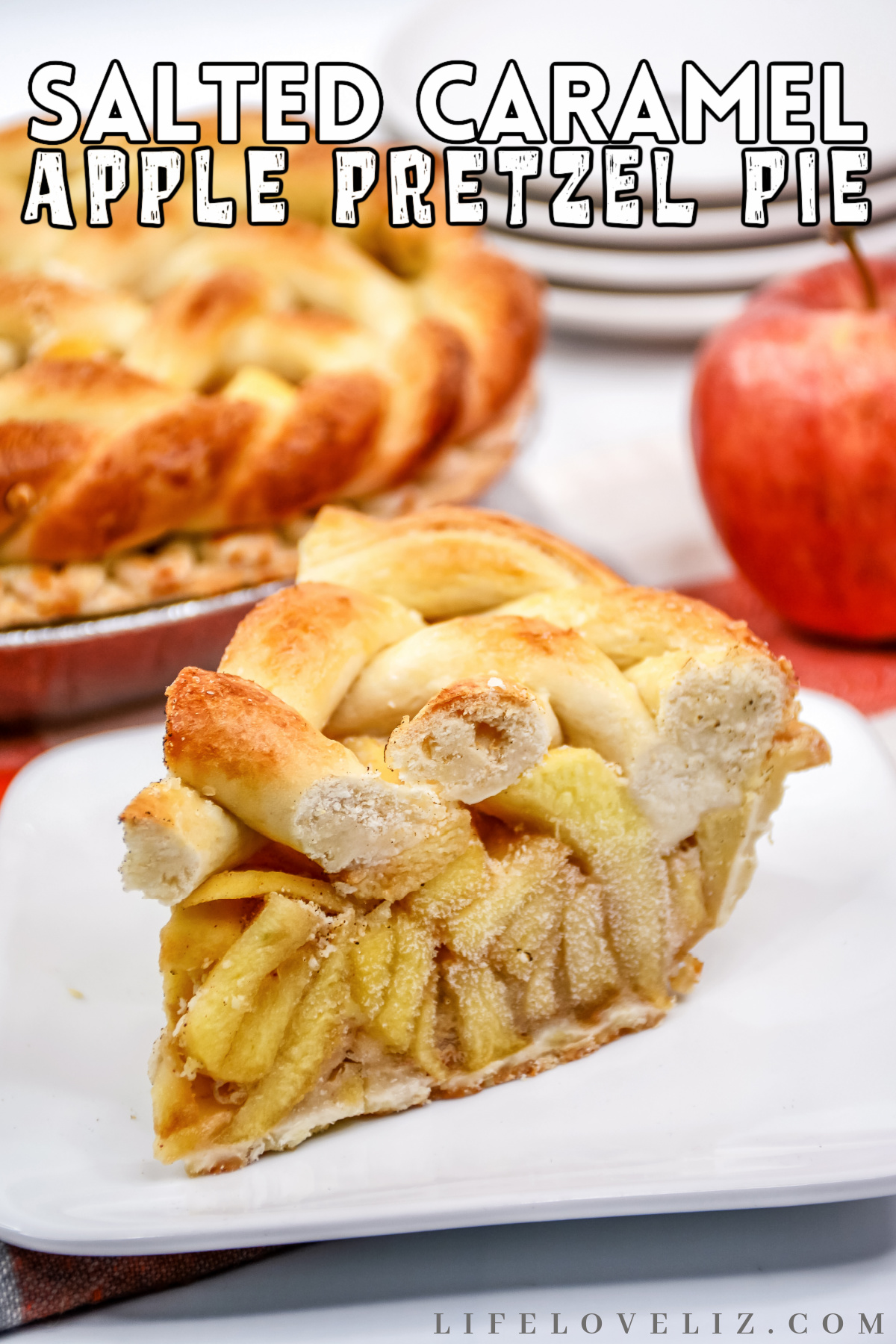 The perfect fall dessert with apples, caramel and pretzel – this Salted Caramel Apple Pretzel Pie Recipe is sweet, salty and creamy.